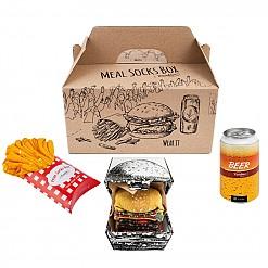 Caja 5 pares calcetines: hamburguesa, cerveza y patatas