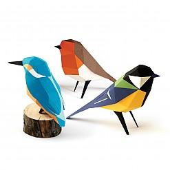Figuras de papel 3D de pájaros de Plego