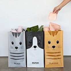 Set de tres bolsas de reciclaje con estampado de gatos