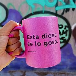 Taza de purpurina con mensaje de reggaeton Esta Diosa se lo gosa