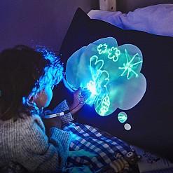 Funda de almohada infantil interactiva que brilla en la oscuridad
