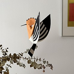 Figura de papel 3D pájaro abubilla Plego
