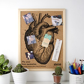 Mini Tablero de Corcho Corazón Marco Natural