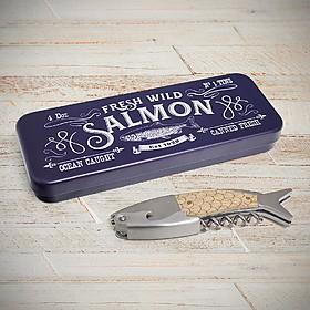 Sacacorchos original con forma de salmón en lata