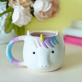 Taza con forma de unicornio de estilo kawaii