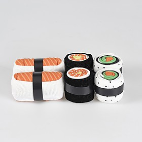 Set de tres pares de calcetines con forma de sushi