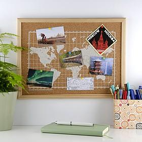 Mini tablero de corcho con el mapamundi serigrafiado en blanco