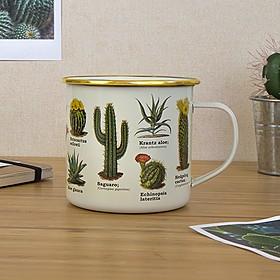 Taza de metal esmaltada con dibujos botánicos de cactus