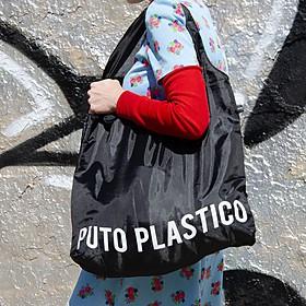 Bolsa reutilizable con mensaje antiplástico