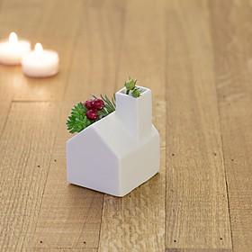 Mini maceta de cerámica con forma de casa