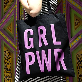 Tote bag con mensaje GRL PWR