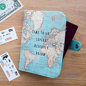 Funda para pasaporte con estampado de mapamundi retro
