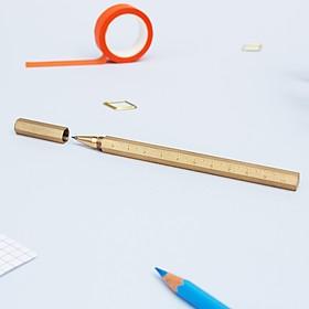 Bolígrafo dorado de forma hexagonal