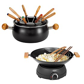 domoclip wok and fondue set curiosite. Black Bedroom Furniture Sets. Home Design Ideas