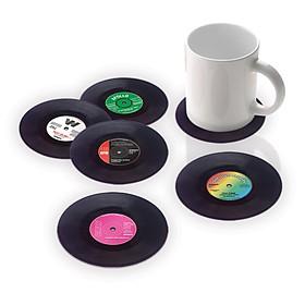 Posavasos con forma de mini discos de vinilo
