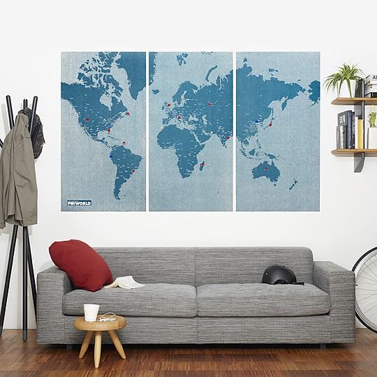 Un mapamundi de diseño fabricado en fieltro