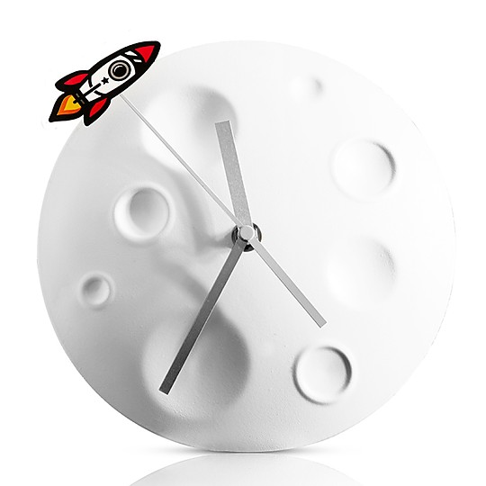 Un reloj de pared retro y espacial