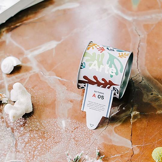 Una caja con 100 tiques informativos sobre artes plásticas