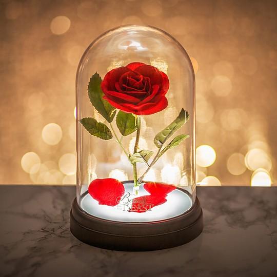 La lámpara rosa encantada de La Bella y la Bestia