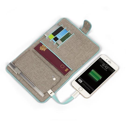 La funda para pasaporte con batería