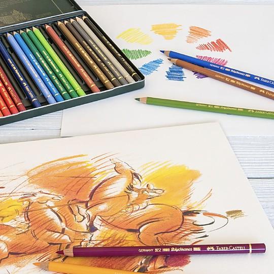 Estuche de metal con 60 lápices de colores Polychromos de Faber-Castell