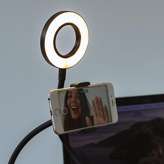 Anillo de luz con soporte para selfies y videollamadas