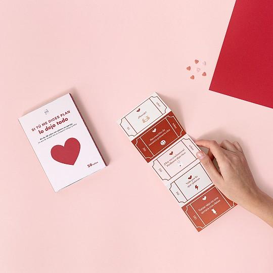 20 vales de papel ilustrados con 20 planes para parejas