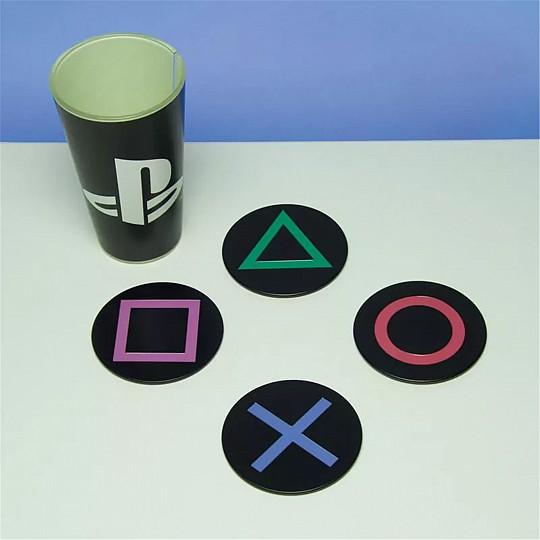 4 posavasos con los símbolos del mando de PlayStation
