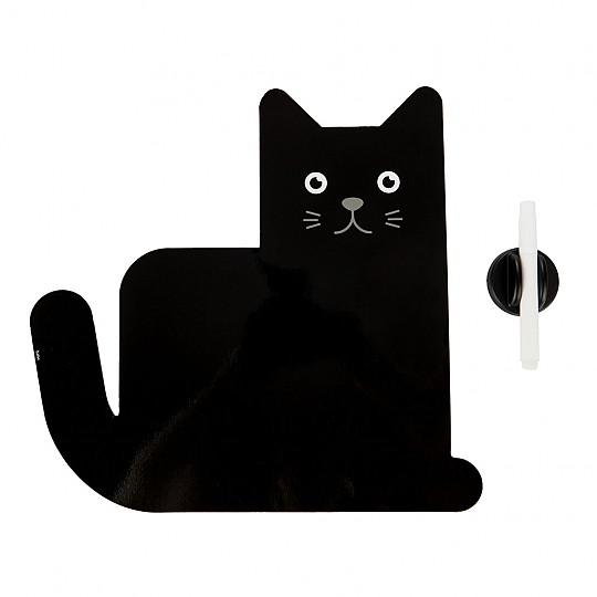 Una pizarra magnética con forma de gato