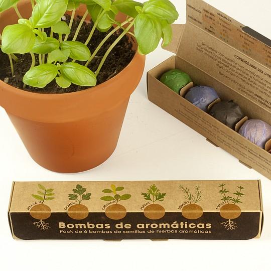 Pack de seis bombas de semillas de hierbas aromáticas