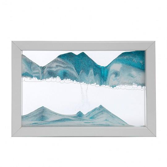 Disponible con el marco blanco y arena azul, blanca y negra