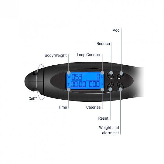 La pantalla muestra tu peso, las calorías que has quemado, el tiempo...