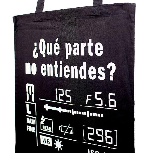 Tote bag Negra para fotógrafos ¿Qué parte no entiendes?
