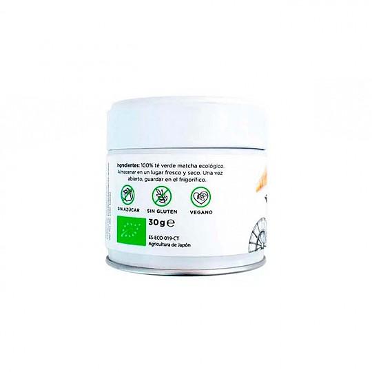 Tarro 30 g de té matcha ecológico reverso