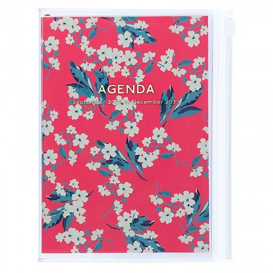 Agenda A6 2022 de diseño floral japonés rosa