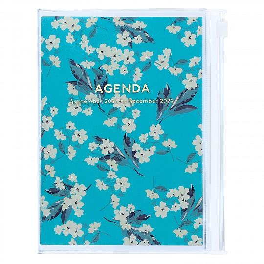 Agenda A6 2022 de diseño floral japonés turquesa