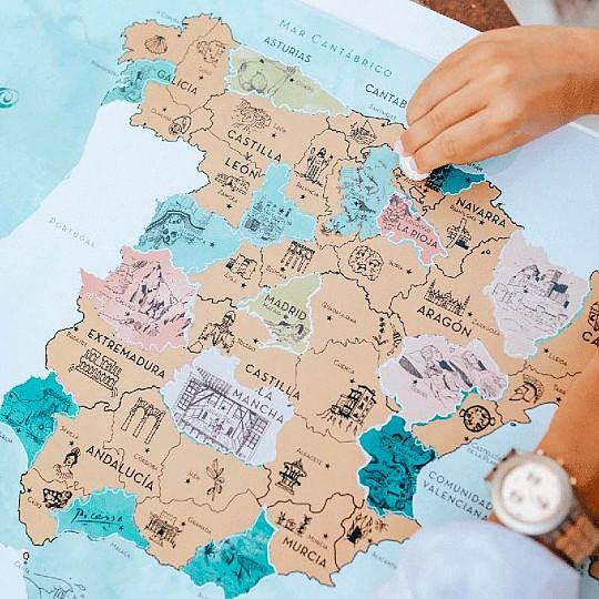 Conoce hasta el último rincón e historia de nuestra geografía con este mapa de rascar