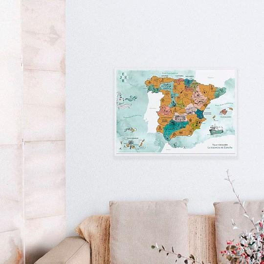 Con un diseño contemporáneo muy chulo, este mapa de rascar de España es muy decorativo