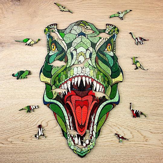 El puzzle de T-Rex tiene 129 piezas en forma de dinosaurios