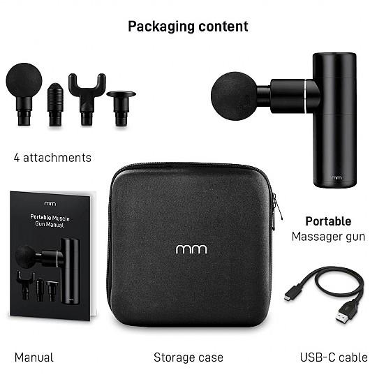 Trae 4 cabezales, un manual de instrucciones, un estuche y un cable USB tipo C