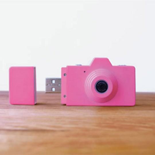 La cámara en color rosa