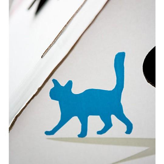 Detalle de la Casa Deco: un gato azul