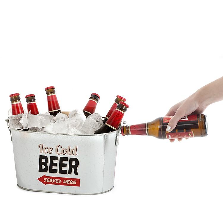 Cubo de cerveza de metal retro for Donde comprar ruedas estilo industrial