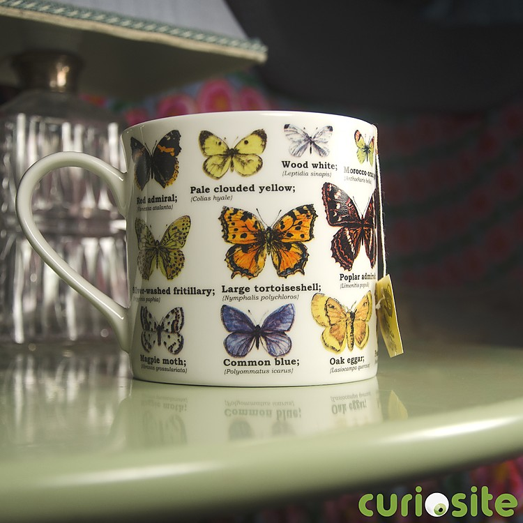 Taza de porcelana mariposas for Tazas porcelana
