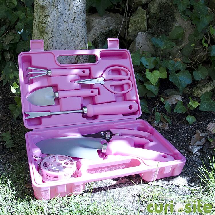 Malet n de herramientas de jardiner a rosa Herramientas jardineria