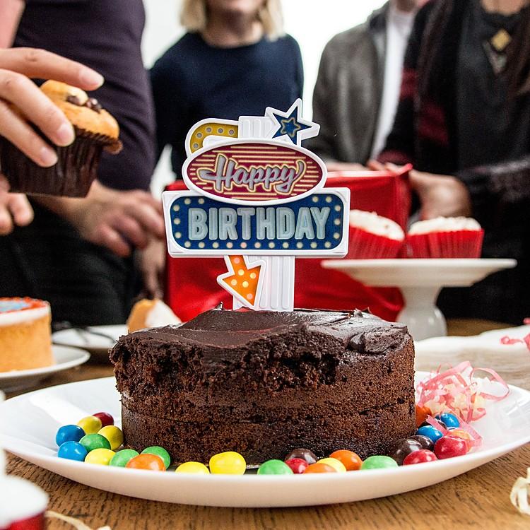 Adorno Para Tartas Letrero Luminoso Happy Birthday - Adornos-tarta
