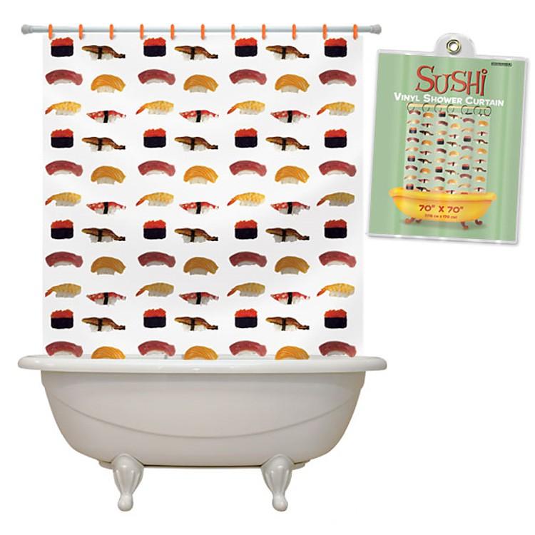 Cortinas De Baño Japonesas:Cortina de baño con dibujos de sushi