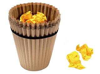 Eco-friendly trash bin shaped like a muffin cup