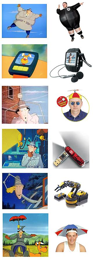Two versions of Inspector Gadget's gadgets