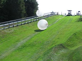 <i>Zorbing</i> (inside the big ball there's a person)
